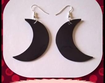 Original earrings! MOON! Plastic black size 4.3 cm x 1.5 cm Moon pattern