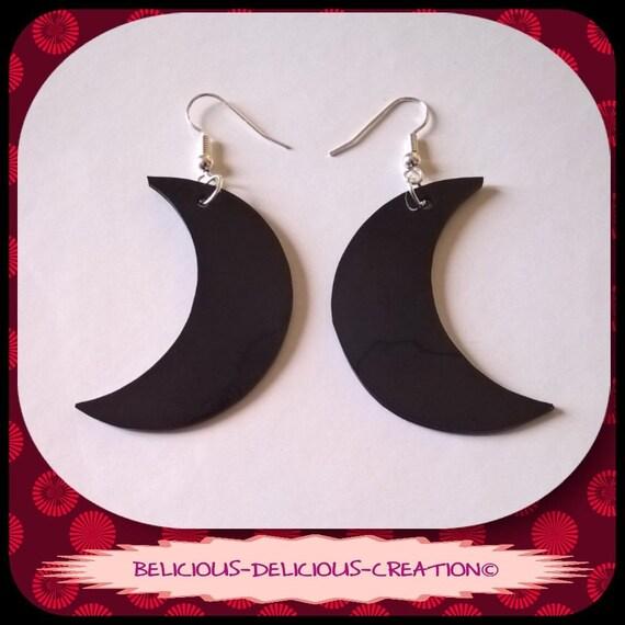 Original Boucles d'oreilles !! MOON !! Motif lune en Plastique Noir Taille 4.3cm x 1.5cm belicious-delicious-creation