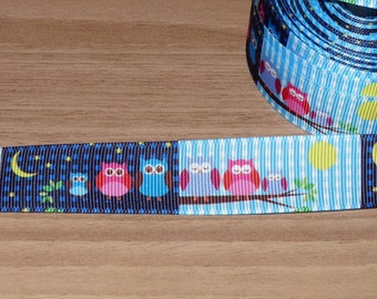 Ribbon blue grosgrain with owls.