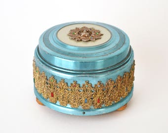 1930s Powder Box Music Box RARE Jeweled Thai Buddha