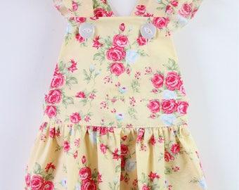 Bella pinafore dress in vintage lemon floral