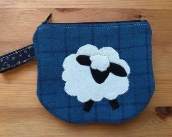Zip Notion Bag, Wool Applique, Sheep blue