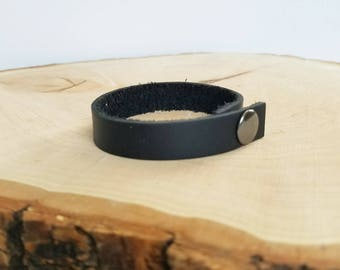 Leather cuff bracelet, simple cuff, snap leather bracelet, black