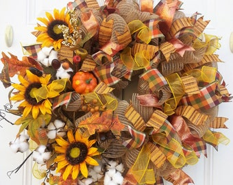 Fall Wreaths for Front Door - Fall Wreaths for Front Door Burlap - Fall Wreaths for Door - Fall Door Decor - Fall Wreaths for Door Sunflower