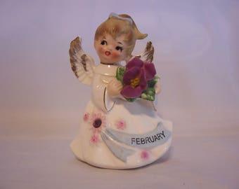 Lefton February Violets Angel Figurine, Japan