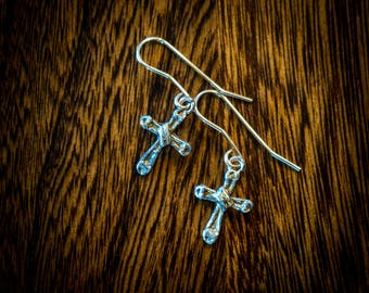 Sterling silver and gold Cross earrings