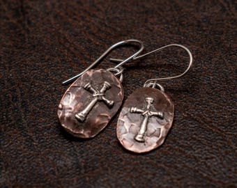 Copper and silver cross earrings