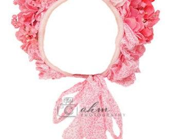 DIGITAL Pink Floral Bonnet Hat Accessory. One of a kind prop!