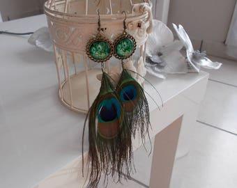 "Earrings fantasies""the awakening of the Peacock"""