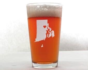 Rhode Island Beer Glass - State Pint Glass - Pint Glass - Personalized Pint Glass - Etched Pint Glass - Groomsmen Pint Glass