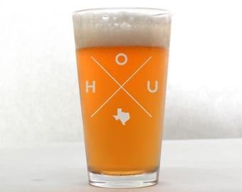 Houston Glass | Houston Pint Glass - Beer Glass - Pint Glass - Beer Glasses - Pint Glasses - Beer Mug - Houston Texas