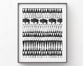 Buffalo Nursery Wall Art Printable, Black and White Boy Bedroom Decor, Adventure Theme, Roam Free, Desert, Southwestern