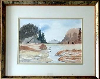 Vintage Signed Original Watercolor Landscape W/ Barn By Chicago Artist Ronald L. Hoeffleur