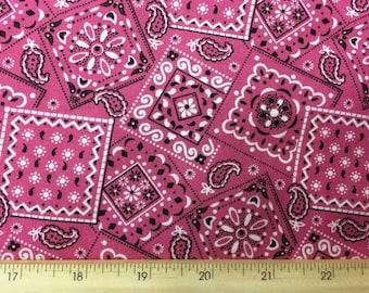 Pink Western Bandana Fabric Cowgirl Bandanna Fabric Pink Cowboy Ranch Cotton Fabric By the Yard / Half Yard w2/29