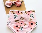 Floral Bib, Floral Bow, Baby Girl Bib, Pom Pom Bib, Bandanna Bib, Drool Bib, Baby Girl Gift, Baby Shower Gift