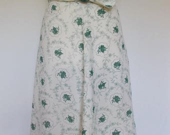 summer sale Vintage 70s cream skirt with green Floral pattern by Bredo of Yorkshire England Size Medium UK 12 14
