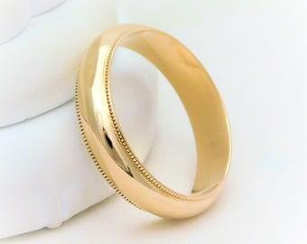 Gents 5mm 14k Gold Milgrain Wedding Band