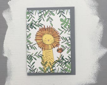 Lion in the jungle blank greetings card