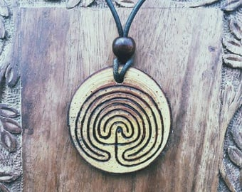 Wooden Labyrinth pendant
