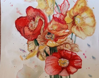 """Original Watercolor Painting, Red, Yellow Poppies, 10""""x8"""", 1803171"""