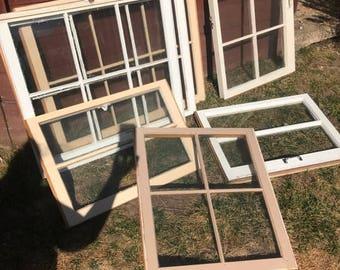 SUMMER SALE wood window frames - wood window panes - 6 pane wood windows - vintage wood windows - rustic wood windows - wood window for wedd