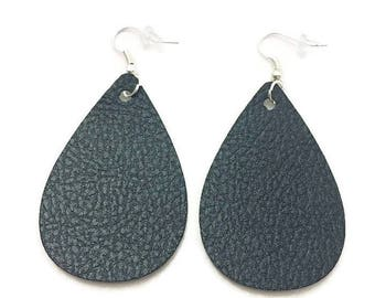 Leather Teardrop Earrings, Black Leather Earrings Brown Leather Earrings Copper Leather Earrings  Blue Leather Earrings Green Leather