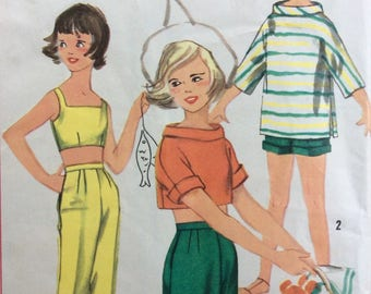Simplicity 2101 girls shorts or capris, pullover top and bra halter top size 8 vintage 1950's sewing pattern