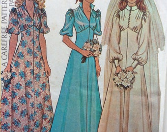 McCall's 4207 misses bride and bridesmaid dress size 10 bust 32 1/2 or size 12 bust 34 vintage 1970's sewing pattern