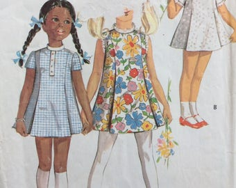 McCall's 2290 girls dress size 5 vintage 1970's sewing pattern