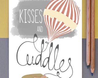 Illustrated Greeting Card Kisses And Cuddles For You Dog Sofa Valentines 7x5""