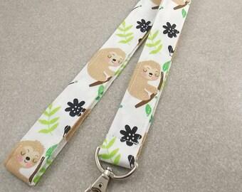 Lanyard Sloth Lanyard Teacher Lanyard Sloths Animal Lanyard Nurse Lanyard Key Holder Key Lanyard ID Badge Holder Badge Lanyard