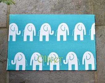 Personalized Elephants Dog Placemat || Stylish Embroidered Dog Food Bowl Mat || Feeding Station Custom Puppy Gift