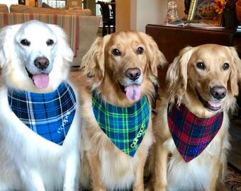 Personalized Flannel Plaid Dog Bandana - Reversible Pet Scarf - Dog Lover Gift by Three Spoiled Dogs