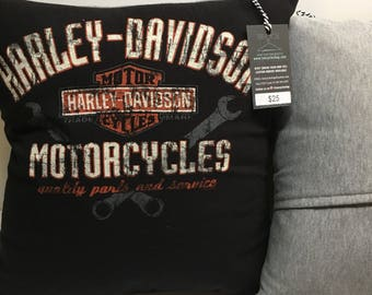 Vintage Motorcycle T-Shirt Pillow 16x16 Upcycled One of a Kind