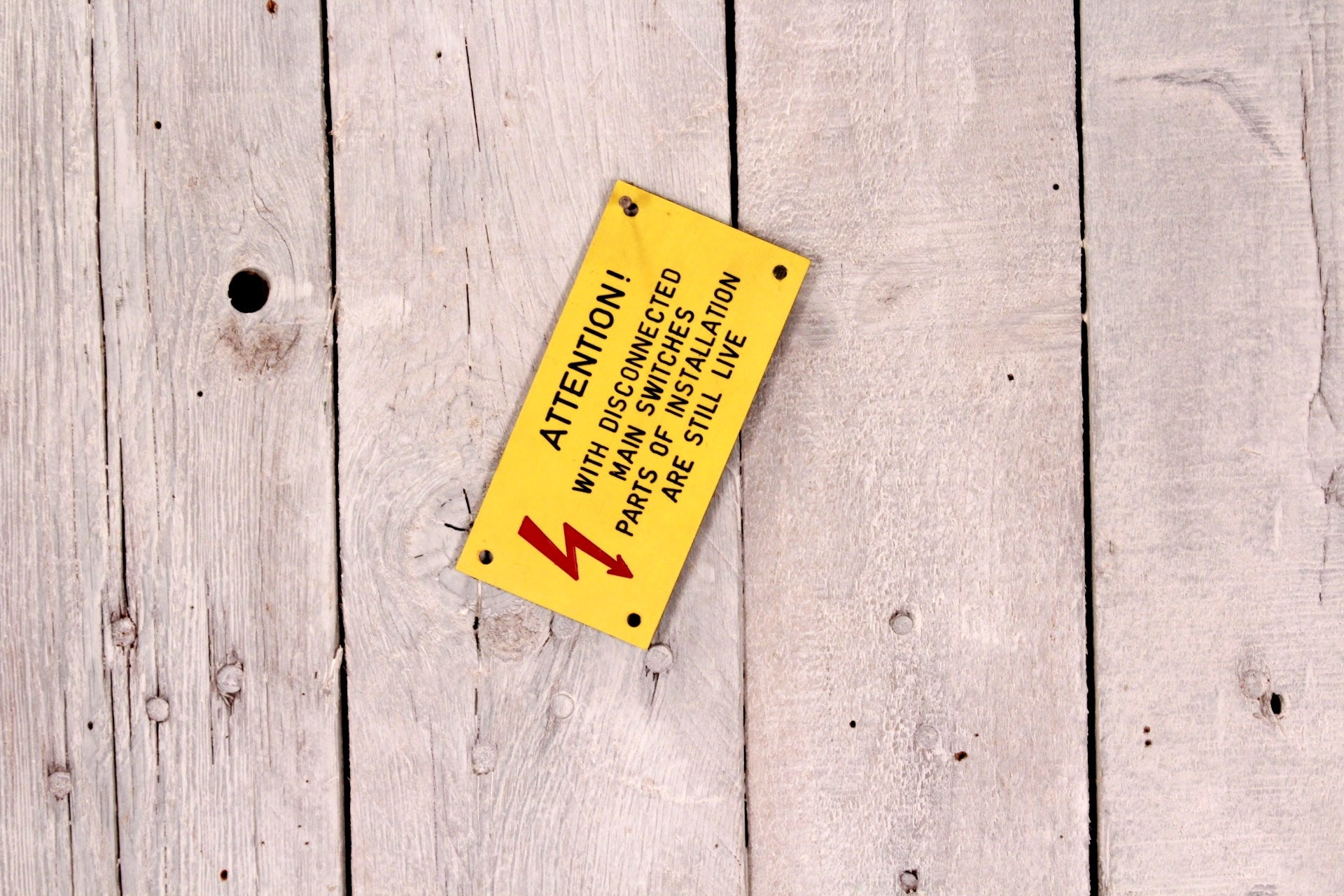 Warning high voltage sign - Danger sign - Yellow red wall sign ...