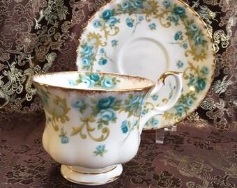 Royal Albert Veronica Green Bone China Tea Cup and Saucer England