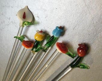 Flower Bouquet  Set of 6 Handblown Glass Swizzle Sticks Stir Cocktail