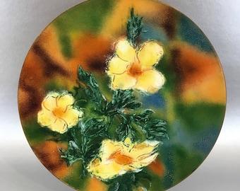 """10"""" Elsie Floral Vintage Mid Century Copper Enamel Decorative Plate"""