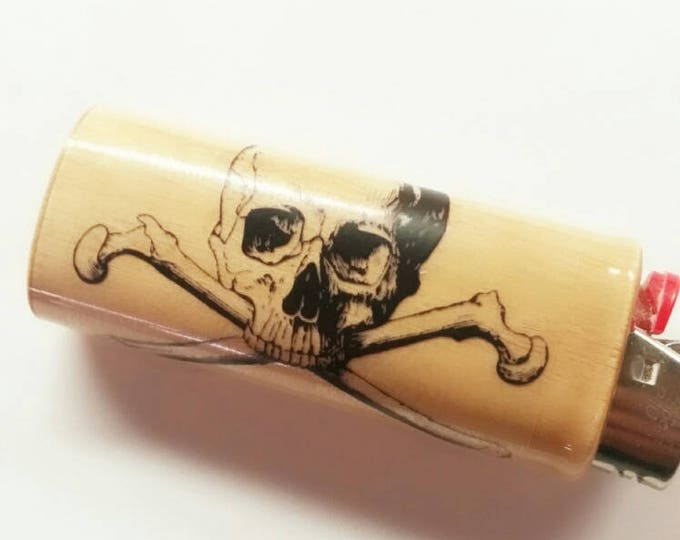 Skull and Crossbones BIC Lighter Case Holder Sleeve Cover