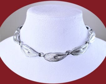 Statement  Choker Coro Necklace Vintage Silver Tone  Choker Necklace Chunky Necklace