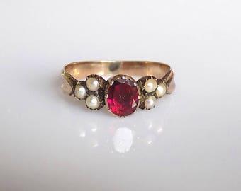 Georgian Gold flat cut Garnet Pearl Ring