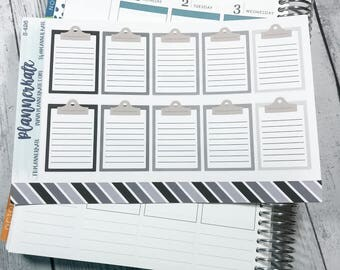 S-426 || CLIPBOARD Stickers for Planner (10 Removable Matte Stickers) - Neutral