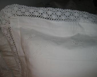 "Euro Sham White Cotton 27"" x 27"" Dublin Embroidery & Bobbin Lace"