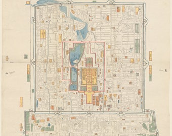 Antique Map of Old Beijing in 1865, Hand Drawing Ancient Map of Forbidden City and Hutong, INSTANT DOWNLOAD, Vintage Oriental Art