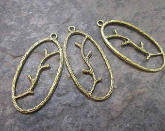 CLEARANCE Rustic Antique Bronze Twig Oval Plaque charms Fall Charms Boho Charms Antique Bronze Pendants for Jewelry Making Package of 3