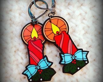 Christmas Candles - Candle Earrings - Christmas Earrings - Christmas Jewelry - Kitsch Earrings - Vintage 70's - Shrink Plastic Earrings