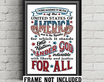Pledge of Allegiance, patriotic art print, one nation under God, red white and blue, housewarming gift, Father's Day gift