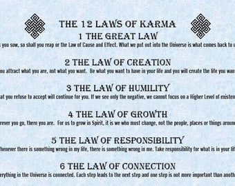 12 Laws of Karma, Yoga art, Karma Wall Art,  cause and efect