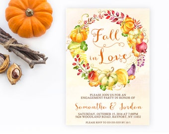 Fall Engagement Party, Fall In Love, Engagement Party Invitation, Fall Engagement Party Invitation, Engagement, Engaged, Fall, Autumn [520]