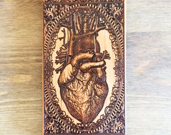 Human Heart Art, Anatomy Heart Phone Case, Engraved Wooden Phone Case for Iphone and Samsung Galaxy, Doctor Gift Cell Phone Case,Anatomy Art